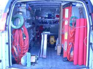 Warehouse on Wheels, an inside picture of the van with material to do most jobs in a home.