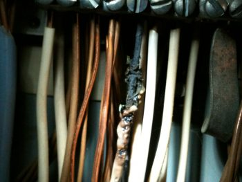 Loose neutral under screw in the electrical panel. Photo of a white wire that has been charred.