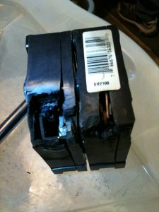 photo of over heated circuit breaker.